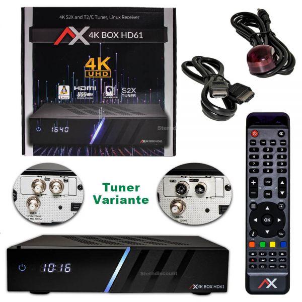 AX 4K-Box HD61 UHD (Optionale Tuner Wahl 2x DVB-S2X / C/T2 ) Receiver