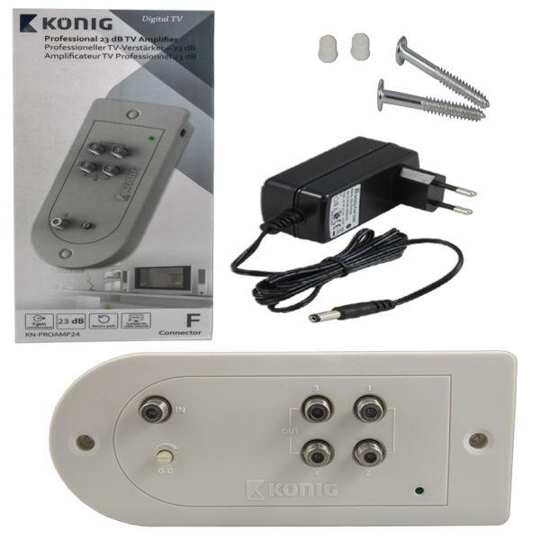 köing Kabel-TV Verstärker 23 dB 4 Ausgänge Rückkanal