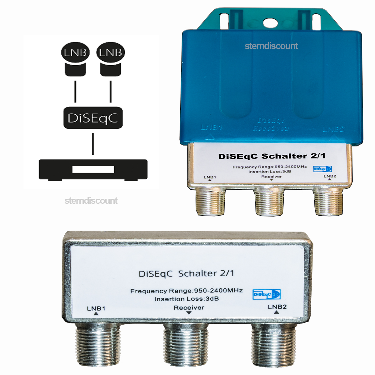 diseqc schalter 2 1 sat lnb umschalter switch 4k hdtv ready. Black Bedroom Furniture Sets. Home Design Ideas