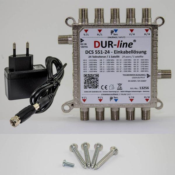 Dur-Line DCS 551-24 Einkabellöung für 24 SAT-Teilnehmer Unicable 2 für 1 Satellit