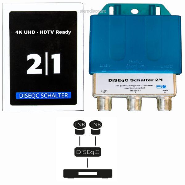 Diseqc 2-1 sat umschalter switch 4k