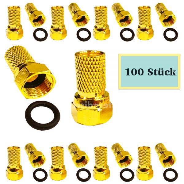 100 Wasserdichte F-Stecker vergoldet 7mm kabeldurchmesser