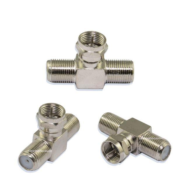 Sat Splitter T-Stück ( 1x F-Stecker 2x F-Buchse ) 2 Stück