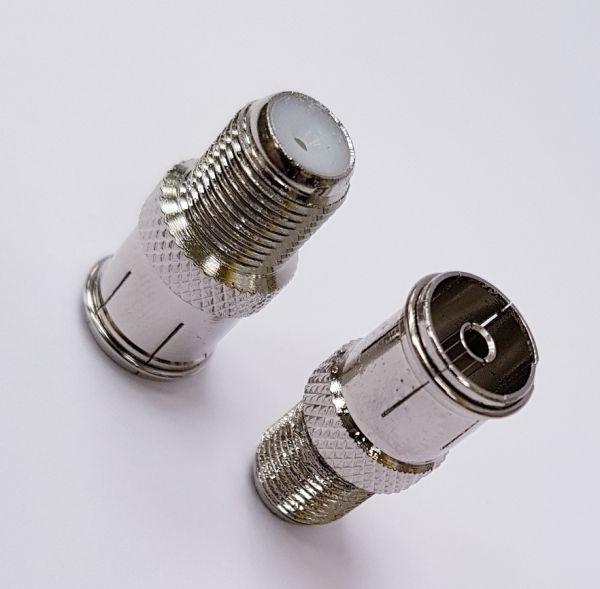 5 STüCK Adapter F-Kupplung auf Koaxial-Kupplung (F-Verbinder Koax-Buchse)