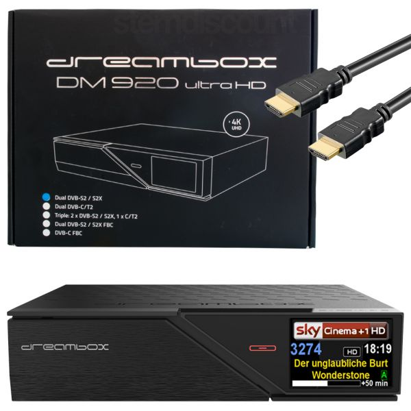 Dreambox DM920 4K UHD 2x DVB-S2X 1x DVB-C/T2 Triple Tuner Combo