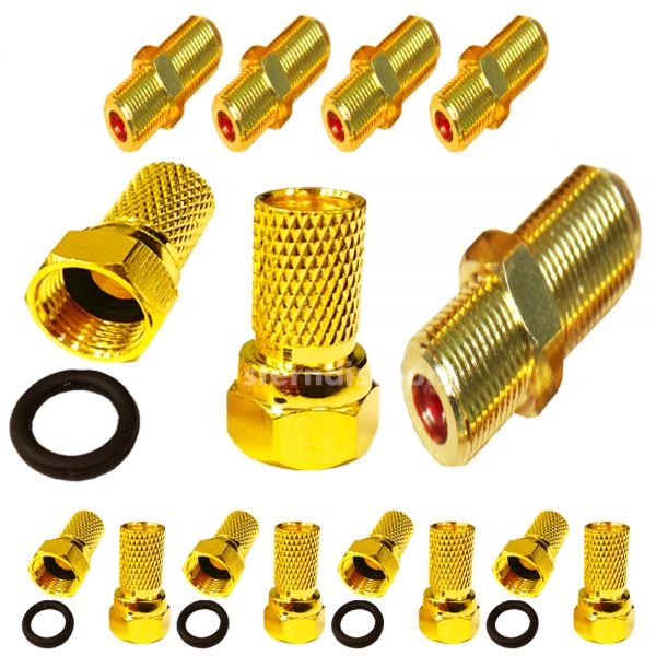 Komplett SET 10x F-Stecker 5x F-Verbinder vergoldet 7,00mm