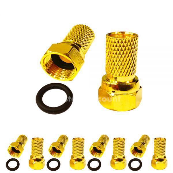 F-Stecker vergoldet + Wasserdicht 10 Stück Kabeldurchmesser 7mm