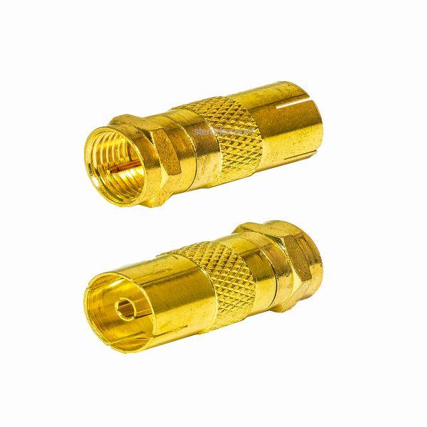 2 Stück Übergangsstecker F-Stecker Koax TV Buchse vergoldet