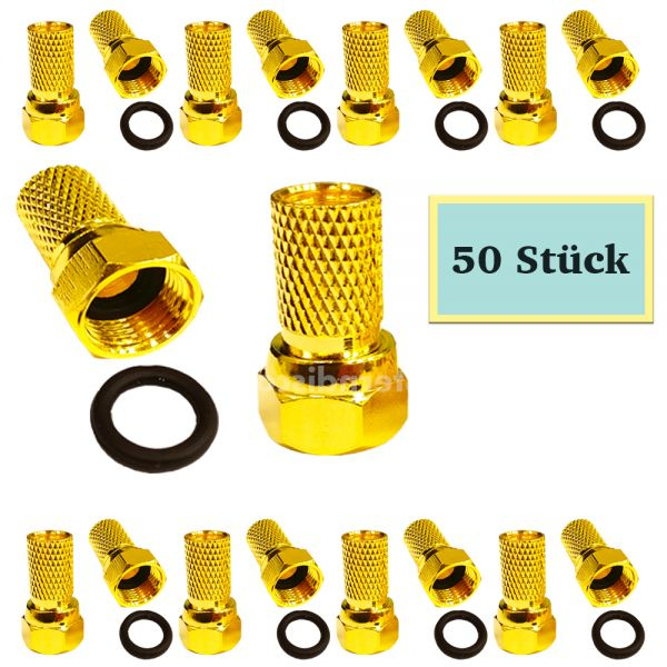 50 F-Stecker vergoldet 7mm kabeldurchmesser