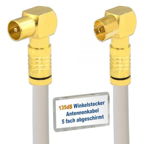TV Stecker gewinkelt 135 dB Antennenkabel Winkelstecker 4k